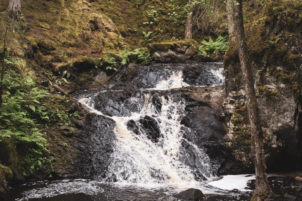 vattenfall som forsar ner längs berg med mossa runt