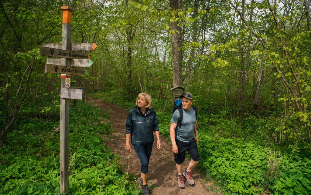 Man och kvinna vandrar längs Smålands många vandringsleder