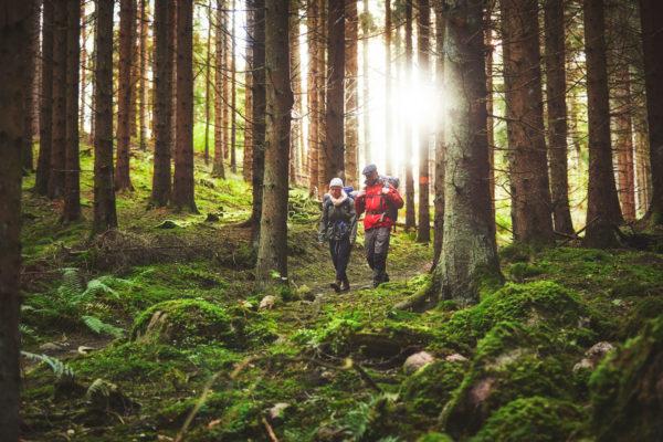 Man och kvinna vandrar i trolsk skog på John Bauerleden i norra Småland