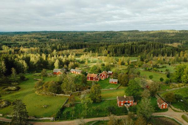 Landskapsbild över röda stugor i skogen.